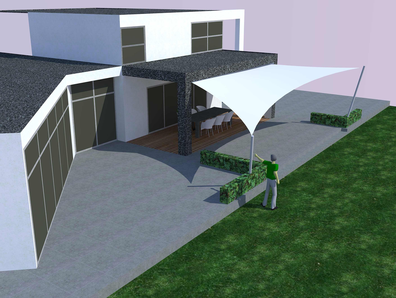 Een uitgebreide 3D studie van een design overkapping met zeil doek - Texstyleroofs