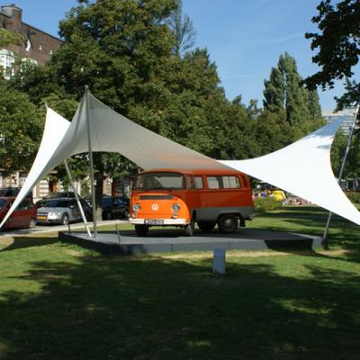 Design overkapping van zeil doek als overkapping voor kunstwerk - Texstyleroofs