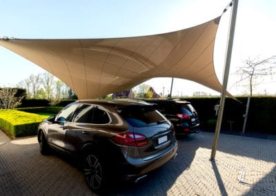 Carport ven terrasoverkapping van zeildoek – Arendonk (BE)
