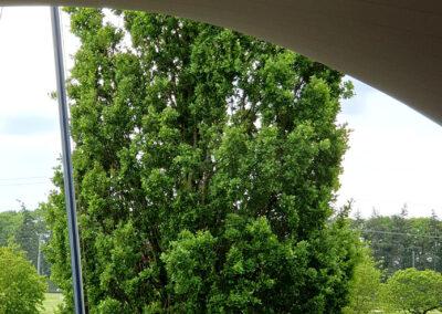 Beschermd tegen de zon, wind en regen onder een Texstyleroofs terrasoverkapping